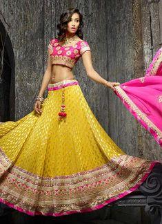 Stunning Yellow Viscose A Line Lehanga Choli