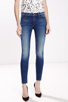 """The Muse Ankle is a perfectly cropped mid rise skinny jean. Bushwhacked is a dark, worn in wash with slight whiskering at the pockets. 9"""" Rise, 27.5"""" Inseam   Mother Muse Ankle  by Mother Denim. Clothing - Bottoms - Jeans & Denim - Skinny California"""