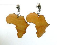 Africa  wood laser cut earrings 2  Clip On by earjeans on Etsy, $12.50