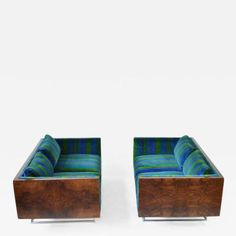 Milo Baughman - Pair of Milo Baughman Rosewood Settees offered by Oliver Modern on InCollect Mcm Furniture, Milo Baughman, Sofas, Toddler Bed, Chrome, Settees, Pairs, The Originals, Vintage
