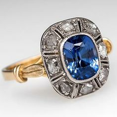 Vintage Created Sapphire Engagement Ring w/ Rose Cut Diamond Halo 18K Gold