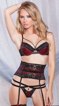 Black and Red Bra, Garter and Thong Set