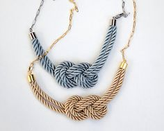 Items similar to GOLDEN or SILVER Nautical Knot  Rope Necklace with golden chain on Etsy