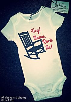 Funny Baby Onsies, One Piece, Bodysuit, Baby Romper, Mama Rock Me, Cutest Baby Onsies, Gender Neutral Baby, Boy, Girl, Wagon Wheel, Country on Etsy, $16.00