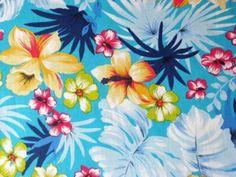 AQUA-BLUE-HAWAII-FLORAL-ORCHID-LUAU-TROPICAL-ISLAND-SEW-CRAFT-DECOR-FABRIC-BTHY