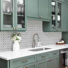 kitchen reno Pattern lovers will fall head over heels for our distinctly Moroccan Estrella encaustic Black And White Backsplash, Black And White Tiles, Green Kitchen, Kitchen Decor, Kitchen Design, Morrocan Tiles Kitchen, Kitchen Tile, Cement Tile Backsplash, Moroccan Tile Backsplash