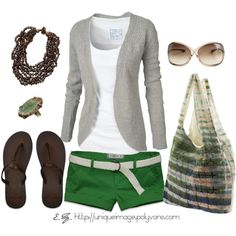 Love this outfit with pants instead of shorts....Green Casual, created by uniqueimage on Polyvore