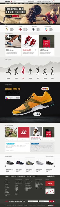 Reebok — One DestinationWhether you love yoga, crossfit, or a leisurely stroll around the block, Reebok can get you in the right gear. Their products cater to various fitness activities and were previously offered through numerous regional platforms. Mobile Web Design, Web Ui Design, Web Layout, Layout Design, Layout Online, Site Bio, Module Design, Digital Web, Creative Web Design