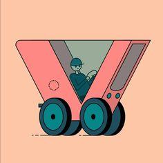 V for Vehicle . 36 Days Of Type, Adobe, Vehicles, Illustration, Instagram, Cob Loaf, Car, Illustrations, Vehicle