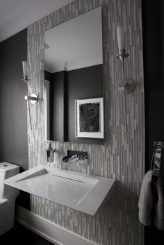 Powder Room - I like the floor to ceiling tiling to highlight the sink and mirror area. Powder Room - I like the floor to ceiling tiling to highlight the sink and mirror area. Tiny Powder Rooms, Modern Powder Rooms, Modern Room, Modern Spaces, Contemporary Bathrooms, Modern Bathroom Design, Bathroom Interior, Grey Bathroom Tiles, Grey Bathrooms