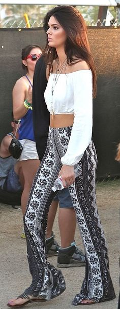 Kendall Jenner wearing Sam Edelman Ginger Three Strap Gladiator Sandals In Pewter For Love and Lemons Chi Chi Crop top Novella Royale Border Print Bell Bottoms