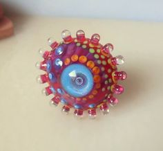 °° TINY FLOWER °° RINGTOP lampwork bead by jasmin french