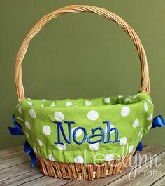 Green Polka Dot Personalized Easter Basket Liner
