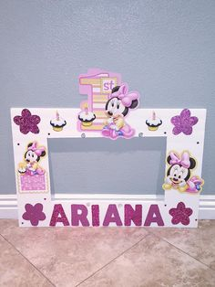 Minnie Mouse Photo Frame Pink By Natashathecreator Birthday Theme Minie