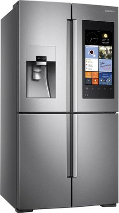Samsung - Family Hub 27.9 Cu. Ft. 4-Door Flex Smart French Door Refrigerator With Geek Squad White Glove Experience - Stainless Steel - Angle Zoom