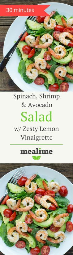 Spinach, Shrimp & Avocado Salad with Zesty Lemon Vinaigrette - a quick and healthy Mealime recipe for one or two. Low carb, keto, paleo/primal, pescetarian, dairy free, gluten free, peanut free, and tree nut free. #mealplanning