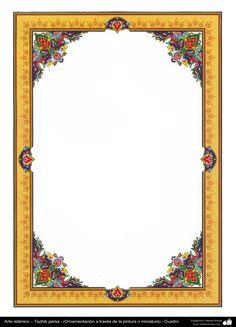 Persian Tazhib - frame Boarder Designs, Frame Border Design, Calligraphy Borders, Islamic Calligraphy, Borders For Paper, Borders And Frames, Frame Background, Paper Background, Islamic Patterns