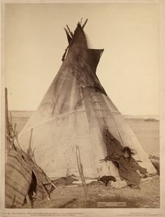 :::::::: Vintage Photograph :::::::::   Oglala Girl at Tipi by John C. H. Grabill
