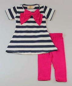 This Navy Stripe Tunic & Fuchsia Leggings - Toddler & Girls is perfect! #zulilyfinds