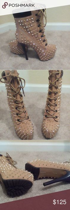Zigi girl boots Zjo boots with spikes Shoes Lace Up Boots