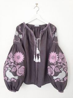Image of limited edition bird print blouse grey & pink