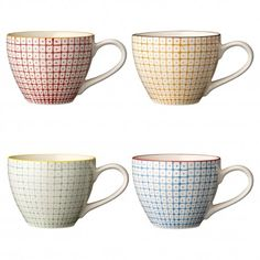 Set of 4 large tea cups porcelain hand painted mind by Bloomingville, available in 4 assorted colors.