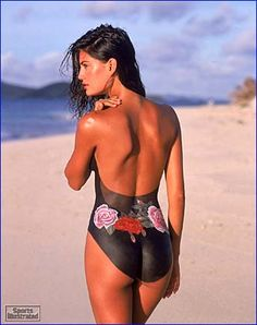 Yamila Diaz-Rahi    Year: 1999 Swimsuit: Swimsuit by Gottex ($148) Photographed by: Antoine Verglas Collection: painting