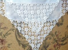 Fantastic VINTAGE LACE HANDKERCHIEFS - French Net Lace - Embroidered Net Lace. Wedding handkerchief.