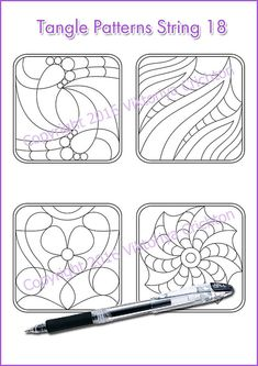Strings for drawing zentangles_18. Zentangle starter pages. Tangle pattern printable string, PDF.
