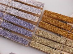 DIY glitter clothespins. #reception #paper #decorations