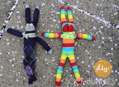 Fun and easy bunnies made from colorful socks!