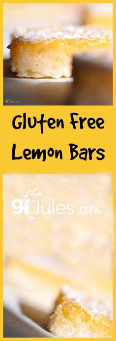 Gluten Free Lemon Bars will brighten any day! These light, sweet and tart bar cookies are super easy to make, and will be gone in an instant, so you may want to double the recipe!  Dairy-Free, too! gfJules.com