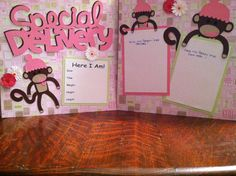 Special Delivery Baby Girl with Sock Monkeys Pre Made 12 x 12 Double Page Layout. $12.00, via Etsy.