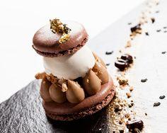 Macaron gourmand café chocolat, sorbet café ©Thierry Caron