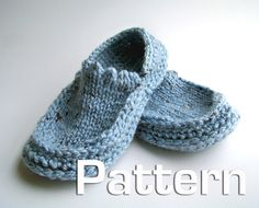 Pattern for slippers, knitted upper and crochet sole.