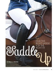 Saddle Up - Find The Right Saddle For the Right Fit! An inside look at how saddles need to work with the horse. An article from Modern Arabian Horse magazine. https://www.arabianhorses.org/additional/magazine/#