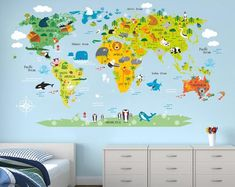 Homeevolution grandes hitos Animal Educativo Niños mapa del mundo Peel /&...