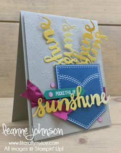 Sunshine in My Pocket | Stampin\' Up! | Pocketful of Sunshine #literallymyjoy #pocket #sunshine #sharingsmiles #BerryBurst #DapperDenim #EmeraldEnvy #ColorTheoryDSP #20172018AnnualCatalog
