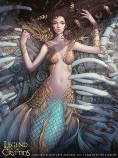 Artist: Yuan Liu aka lange - Title: Unknown - Card: Melfon, Dragon's Captive (Deserted)