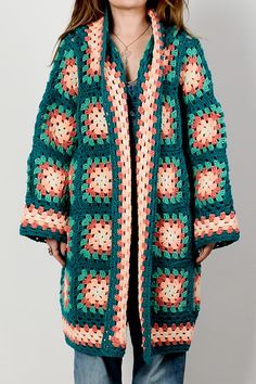 vintage 70s HOODED Granny Square Cardigan by TinRoofVintage