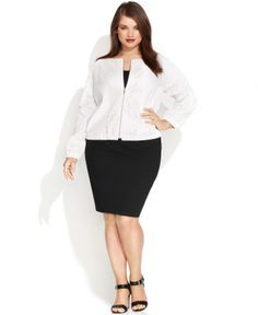 6988b17605d Calvin Klein Plus Size Perforated Faux-Leather Bomber Jacket - Plus Size  Jackets  amp
