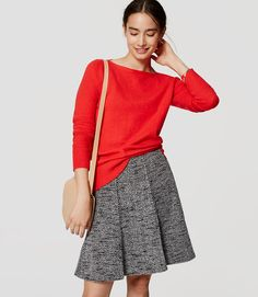 Image of Boatneck Tunic Sweater color Summer Strawberry Flippy Skirts, Petite Sweaters, Cute Cardigans, Tunic Sweater, Work Attire, Tweed, Autumn Fashion, Stylish, Outfits