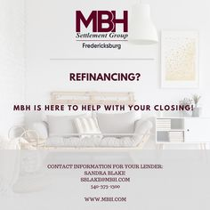 🏠 Refinancing?  We are here to help with your closing!  🏡  Contact information for your lender!  Sandra Blake - sblake@mbh.com   #refinance #refinancingmortgage #refinancing #fxbg #fredericksburgrealestate #lovefxbg #ItMattersWhereYouClose #ClosingDay #mbhfred #mbhsettlementgroup Closing Day, Closer, Real Estate, Group, Home Decor, Decoration Home, Room Decor, Real Estates, Home Interior Design