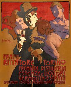 Adolfo Hohenstein (1854-1928, German), Fratelli Rittatore Torino, Premiata Distilleria, Essenze e Liquori, Vermouth Estratti.