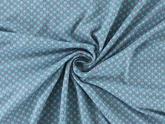 Baumwolljersey Tiny Dot, grau-türkis, 2720-25,  bei stoffe-hemmers.de, Weicher und trendiger Baumwolljersey mit kleinen Rauten im Retro-Design,