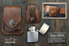 Handmade Leather Zippo pouch/case to wear on your belt Incl.