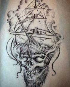 Terrific Pirate Ship Tattoo Design Terrific Pirate Ship Tattoo Design This i. - Terrific Pirate Ship Tattoo Design Terrific Pirate Ship Tattoo Design This image has get 8 repi - Skull Tattoo Design, Tribal Tattoo Designs, Skull Tattoos, Body Art Tattoos, Tribal Tattoos, Sleeve Tattoos, Anchor Tattoos, Tatoo Pirate, Pirate Ship Tattoos