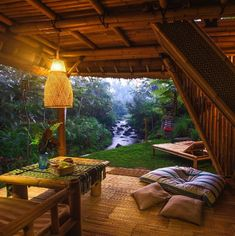Eco bamboo house in Bali⠀ Photo by - Travel Outdoor Spaces, Outdoor Living, Outdoor Decor, Bamboo House, Cozy Place, Cabin Homes, Cabins In The Woods, Future House, Pergola