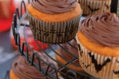 Pumpkin Cupcakes with Chocolate Frosting