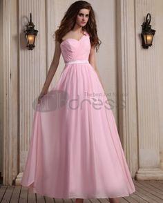 Long Evening Dresses-Sleeveless Chiffon Ruffles One Shoulder Pink Floor Length Evening Dresses